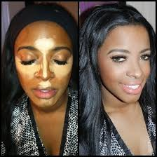 pre and post contour make up application dark skin