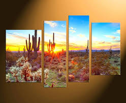 nature canvas artwork 4 piece canvas wall art home decor scenery huge pictures saguaro cactus photo nature canvas artwork