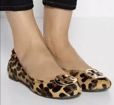 tory burch minnie travel ballet flat leopard logo shoes size 10 5