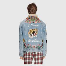 gucci jean jacket. gucci embroidered denim jacket with shearling detail 4 jean m