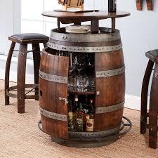 vintage oak wine barrel bistro table amp bar stools whiskey finish throughout