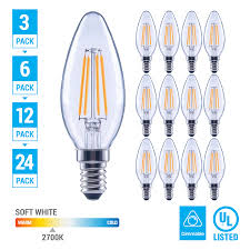 New Leaf Light Bulbs Pack Led 4 5w 60w Chandelier Dimmable Filament B11 Clear E12 Base Soft White