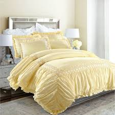 elegant white and yellow vintage victorian lace ruffle luxury feminine full queen size bedding sets