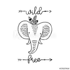 Stylized Cute Elephant Isolated Vector Illustration With
