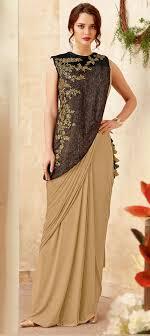 Designer Stitched Saree Lycra Designer Readymade Saree In Beige And Brown With Embroidered Work