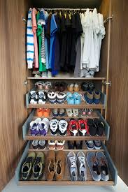 charming corner closet shelf with shoe collection next to space saving ideas for small bedrooms and pull out drawers
