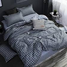 home textile ab side bedding set grey geometric bedding housse de couekid bed linen set blue bedclothes duvet cover sheet comforter sets queen king