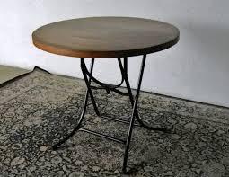 vintage round foldable table solid teak top