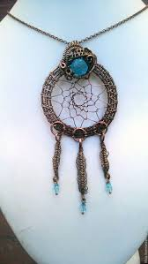 Wire Wrap Dream Catcher Tutorial Copper wire wrapped dreamcatcher pendant Sparkling turquoise 54
