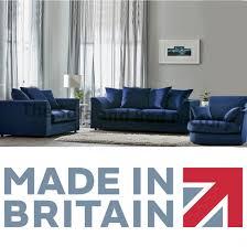 royal blue plush velvet 3 piece sofa