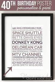 Happy 40th birthday quotes mark a major milestone in a person life. Personalized 40th Birthday Poster Gift