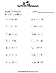 simple algebra worksheet free printable educational algebraic equations worksheets image