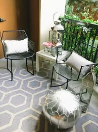 Ross Geometric Patio Chairs (similar Here) // Ikea White Side Table Rugs  USA Outdoor Pattern Rug C/o HomeGoods Lanterns ... R