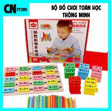 Bộ xếp hình Domino bằng gỗ an toàn cho bé ? Đồ chơi trí tuệ kích thích bé  học toán 101 thanh gỗ & 100 que tính nhiều màu - Đồ Chơi