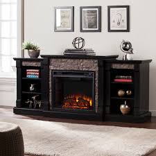 grissom black faux stone electric fireplace with bookcases