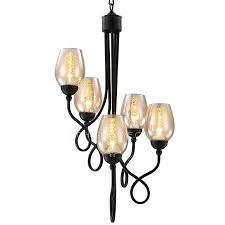black wine cup chandelier 5 lights glass shade