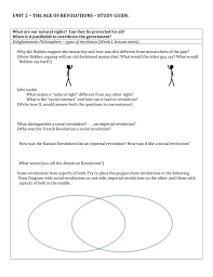 Compare American And French Revolution Venn Diagram Unit 2 The Age Of Revolutions Study Guide