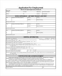 Generic Employment Application Form Employment Applications