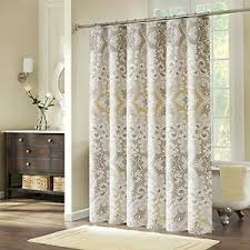 Fabric Shower Curtain With Hooks White Tan Grey Paisley Tub Bathroom