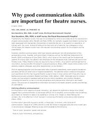why good communication skills are important for theatre nurses