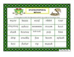 Onomatopoeia Bingo Anchor Chart And Creative Writing