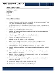 Cleaning Job Description For Resume New School Custodian Job