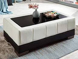 White leather coffee tables Modern Faux Leather Coffee Table White With Black Glass Tabletop Glass Beverly Glass Coffee Table Amazoncouk Kitchen Home Vptherapy360info Faux Leather Coffee Table White With Black Glass Tabletop Glass