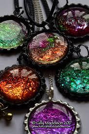 make faux dichroic glass pendants