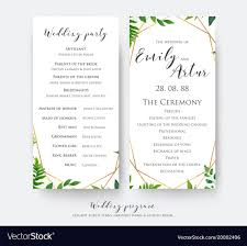Wedding Ceremony Card Wedding Ceremony And Party Program Card Design Vector Image