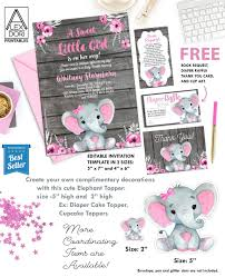 Baby Shower Invitations Template Baby Shower Invitation Pink Girl Elephant With Flowers Rustic Invitation On Wooden Background