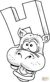 Coloring Pages For Kids H With Letter H Is For Hippopotamus Coloring