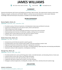 Esthetician Resume Sample Resumelift Com