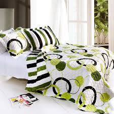 lime green black white teen girl bedding full queen quilt set modern geo circled striped