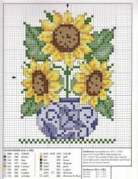 Sunflowers In Blue Willow Cross Stitch Chart And Thread Key