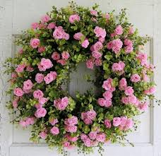 front door wreaths for summerPink Rose Wreath Summer Door Wreath Front Door Wreath