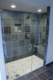Open Shower Bathroom Interior Glass Shower Room With Black Wall Tile And Stainless
