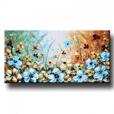 giclee print art abstract painting blue flowers poppies modern