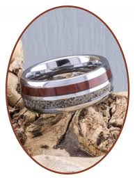 tungsten carbide wood visible ash cremation jewelry ring wr004 8mm