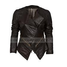 asymmetric biker black collarless leather jacket womens