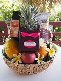 custom hawaiian gift basket w fresh fruit and plumeria flowers only at exquisite