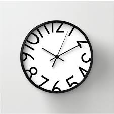 wall clock for office. Wall Clock With Big Numbers, Numbered Clock, Black And White, Home Decor For Office