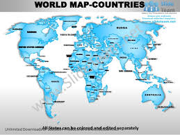 Powerpoint World World Powerpoint Editable Continent Map With Countries