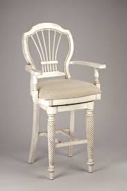 hilale wilshire swivel wood bar stool with arms antique white