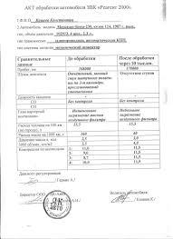 Акты и отчёты испытаний Присадки Реагент  Акт обработки автомобиля Мерседес Бенц 230