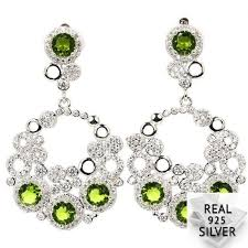 <b>8.5g Real 925 Solid</b> Sterling Silver Deluxe Green Peridot CZ Man ...