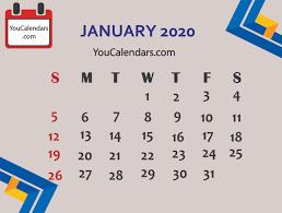 Calendar 2020 Template Free
