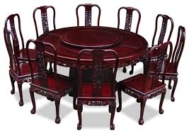 66 rosewood imperial dragon design round dining table with 10 chairs