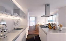 Easy modern open kitchen design with white cabinet along with glass  floating cabinet along with elegant kitchen island be