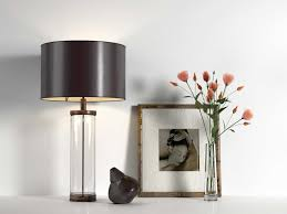 table lamp picture and glass vase with roses 3d model
