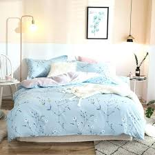 baby blue duvet cover white flowers light blue bedding cotton twin queen king size 3 print